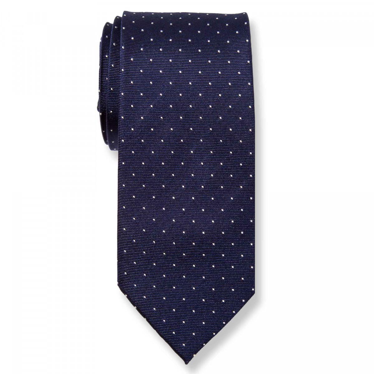 Cravate à pois - Soie Bleu marine