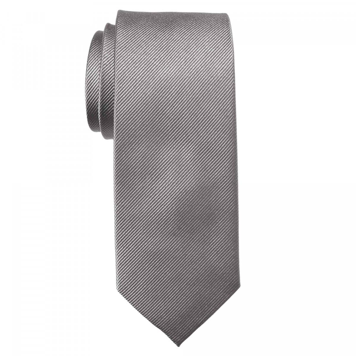 Cravate unie - Soie Gris