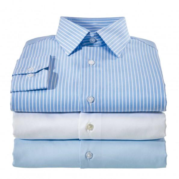 Le trio chemises popeline droite col semi-italien