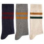 Chaussettes coton rayées - les 3 paires