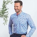 Chemise droite coton imprimé col boutonné Lovebirds