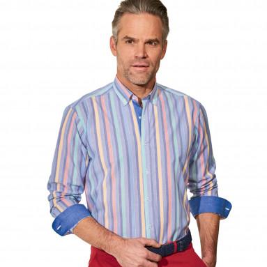 Chemise droite coton rayée col boutonné