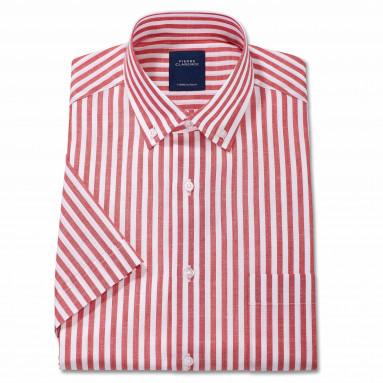 Chemisette droite coton et polyester rayée col boutonné