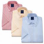 Chemisette droite coton et polyester rayée col boutonné - les 3