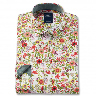 Chemise droite en coton motifs fleuris col semi-italien