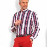 Chemise droite en coton rayée col boutonné