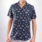 Chemise droite en coton imprimé surf col plat