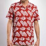 Chemisette droite en coton imprimée hawaïenne col plat