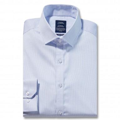 Chemise sans repassage confort twill carreaux col semi-italien