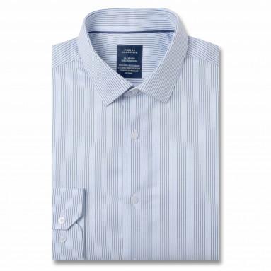 Chemise sans repassage droite twill rayée col semi-italien