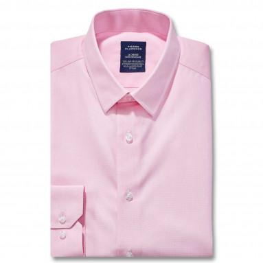 Chemise sans repassage droite fil àfil col semi-italien