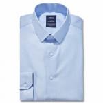 Chemise sans repassage droite fil à fil col semi-italien