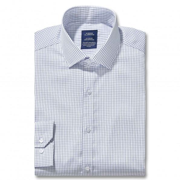 Chemise sans repassage droite twill carreaux semi-italien