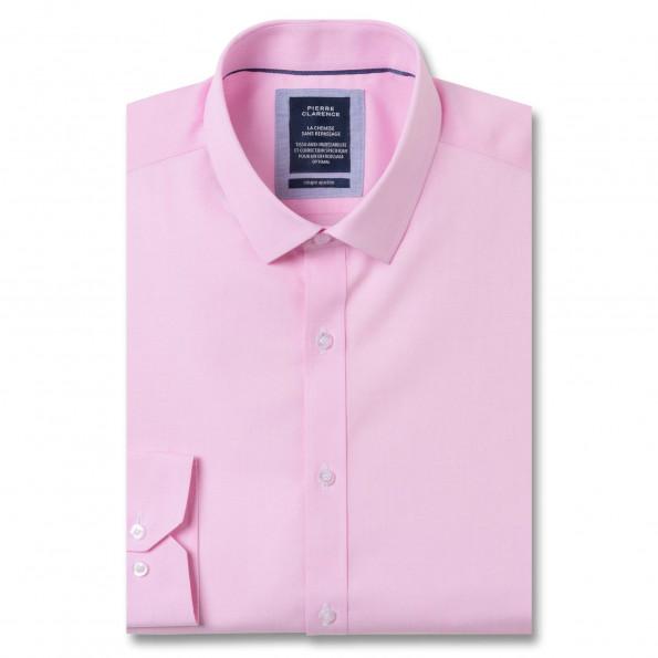 Chemise sans repassage ajustée fil à fil col semi-italien