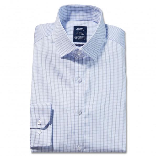 Chemise sans repassage droite carreaux col semi-italien