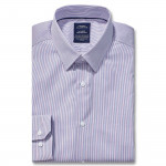 Chemise sans repassage droite twill rayée