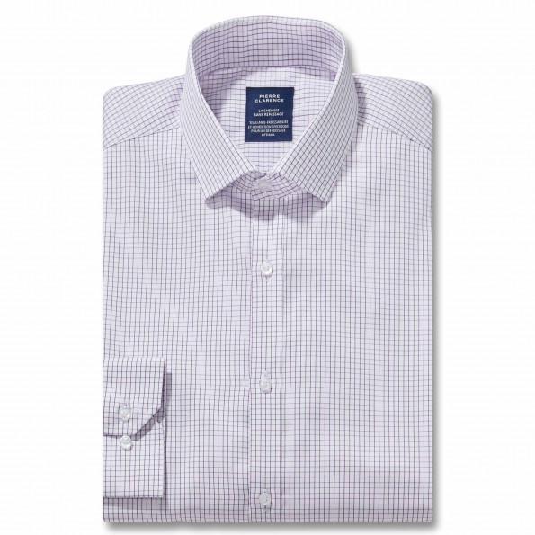 Chemise sans repassage droite twill carreaux col semi-italien