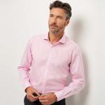 Chemise sans repassage droite popeline Prince de Galles col semi-italien