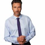 Chemise sans repassage droite popeline rayée col semi-italien
