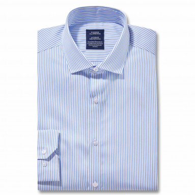 Chemise sans repassage droite rayée col semi-italien