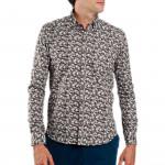 Chemise droite popeline imprimée col boutonnage caché