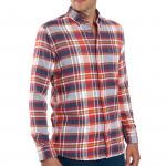 Chemises droites flanelle carreaux col boutonné - les 2