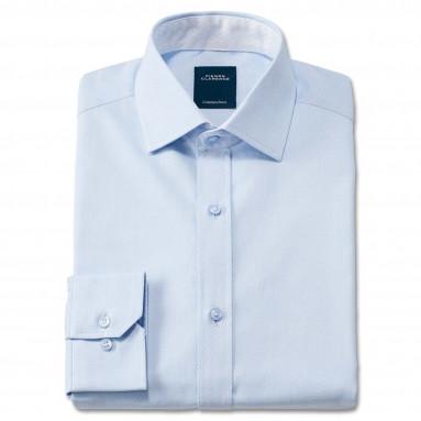 Chemise droite coton col semi-italien