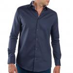 Chemises droites coton col semi-italien - les 3