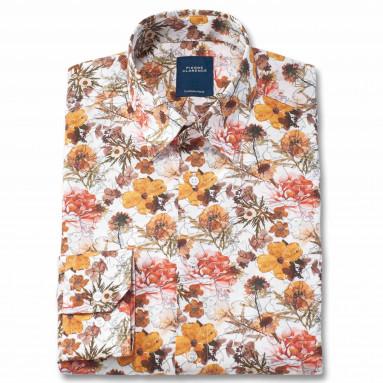 Chemise droite coton imprimée floral col boutonnage caché