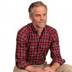 Chemise droite coton twill carreaux col boutonné