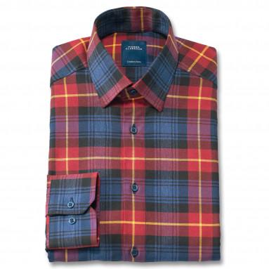 Chemise droite coton carreaux col semi-italien