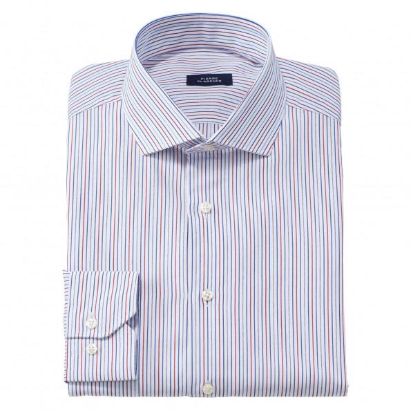 Chemise droite coton rayée col semi-italien