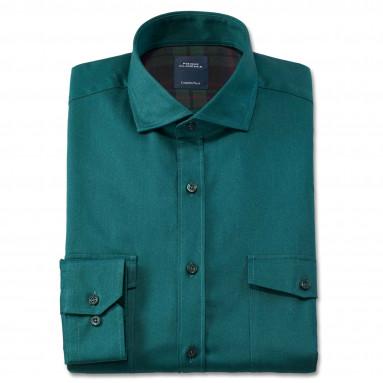 Chemise droite gabardine col boutonnage caché