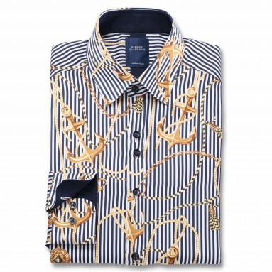 Chemise droite satin de coton imprimée ancre col boutonnage caché