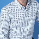 Chemise droite coton imprimée fantaisie col boutonnage caché