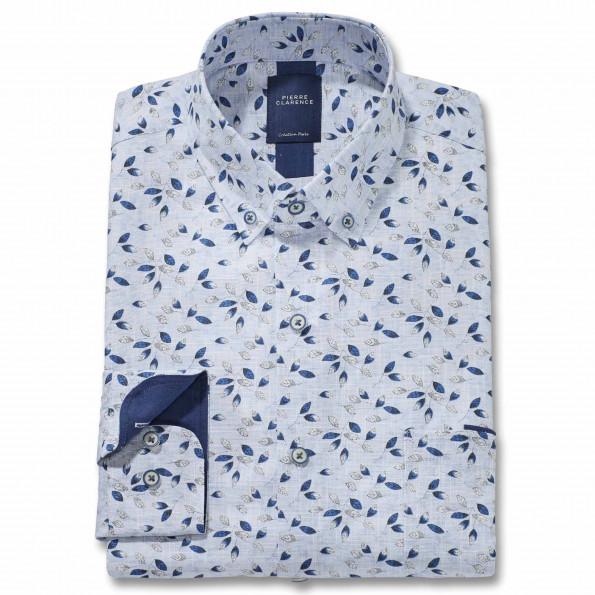 Chemise droite coton imprimée feuilles col boutonné