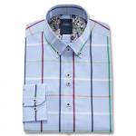 Chemise droite coton carreaux oxford col boutonné