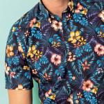 Chemisette droite coton imprimée Hawaï col boutonné