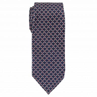 Cravate slim imprimée sellier - Soie