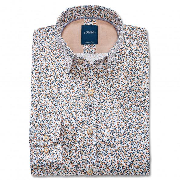Chemise droite coton micro imprimée col boutonnage caché