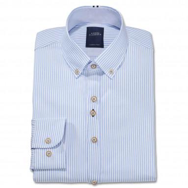 Chemise droite coton rayée oxford col boutonné