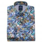 Chemise droite coton imprimée floral col italien