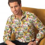 Chemise droite coton imprimée impressionniste col italien