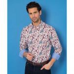Chemise droite coton imprimée floral col boutonné