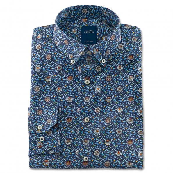 Chemise droite coton imprimée Corfou col boutonné