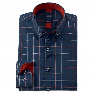 Chemise droite popeline carreaux col boutonné