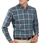 Chemise droite coton carreaux col boutonné