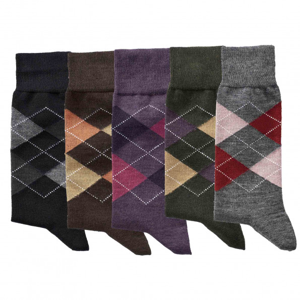 Chaussettes intarsia Mérinos - les 5 paires