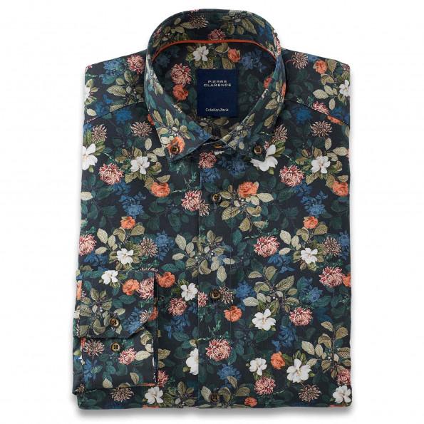 Chemise droite popeline imprimé floral col boutonné