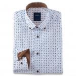 Chemise droite popeline imprimée cachemire col boutonné